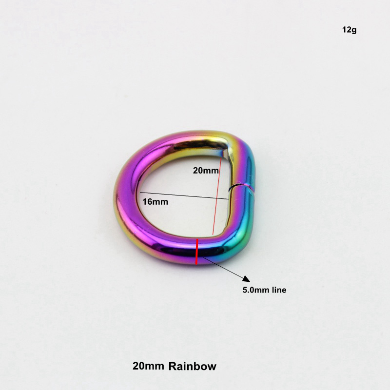 10pcs 50pcs 20mm 32mm 38mm Rainbow Opened d ring belt buckle 9fcc14bce5d4