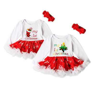 2017 Christmas Baby Costumes Clothes Infant Toddler Baby Girls First Christmas Outfit Newborn Long sleeve Romper dress+Headband baby s first christmas cd