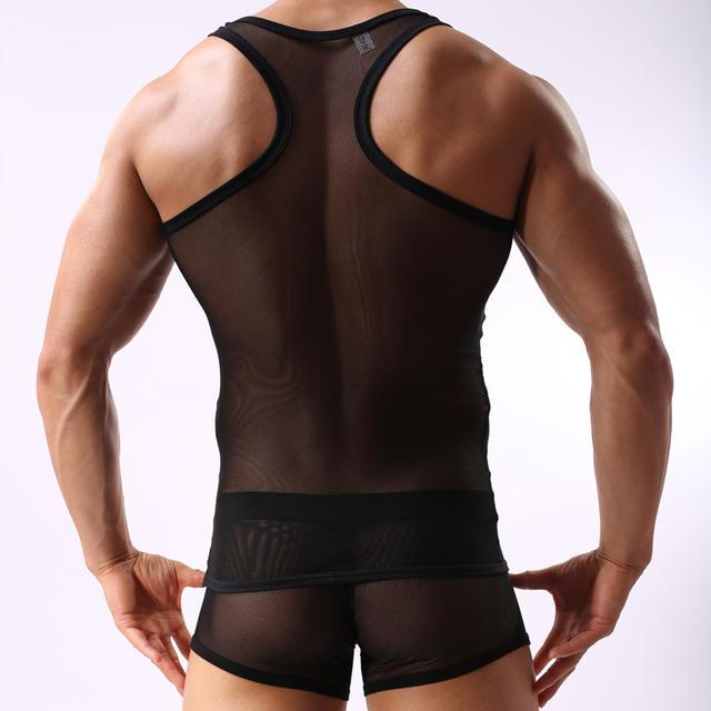 Undershirt sets men's transparent comfortable breathable undershirt sexy vest borad shoulder Ultra-thin vest set plus underpants
