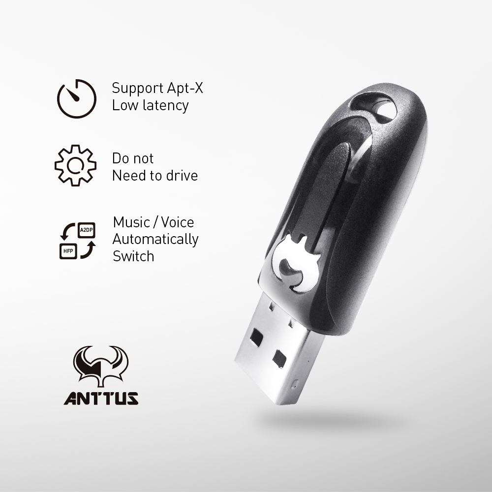 Anttus Driver-Free Game USB Bluetooth Audio Adapter Transmitter Wireless USB Audio Dongle For PS4 with APTX No Audio Delay