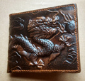 2017 FREE SHIPPING new vintage men Genuine leather wallets Dragon Pattern cowhide High quality Purse for men
