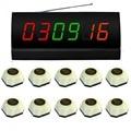 SINGCALL. système d'appel de table sans fil  10 sonnettes d'appel simples blanches et 1 récepteur d'affichage|table work|system alarm|system purifier -