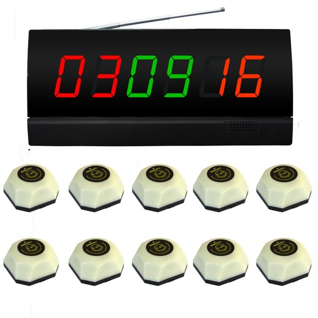 SINGCALL. wireless система таблице вызов, 10 белый одноместный звонить в колокола и 1 дисплей приемника