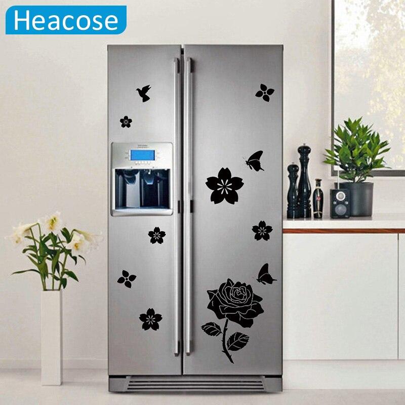 DIY butterflies bird wall sticker for refrigerator flower art stickers for kids room living room fridge wallpaper