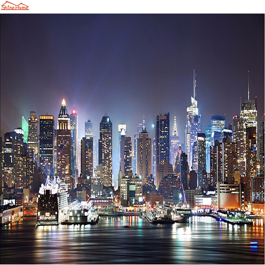 Buy shinehome modern new york night city for New york wallpaper rolls