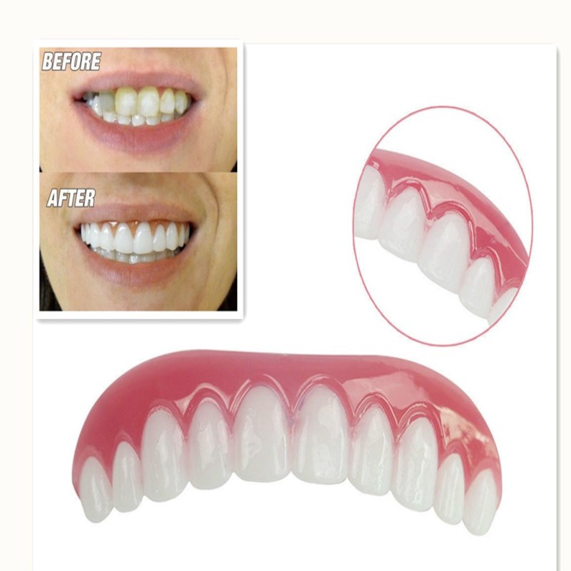 Drop Ship Dental Upper False Teeth Perfect Smile With Veneers For Teeth Comfort Fit Flex Fake Teeth Oral Hygiene Care