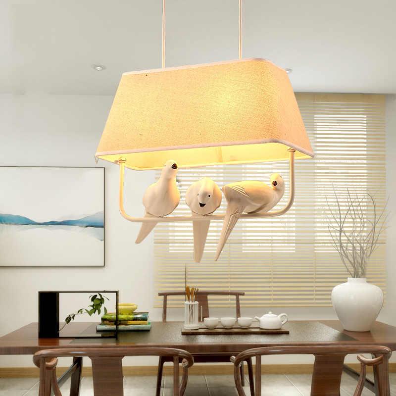 Клетка для птиц ретро люстра для столовой спальни кухня Остров лампа для птичей клетки Смола лампе дизайн птицы Люминесцентная Подвесная лампа