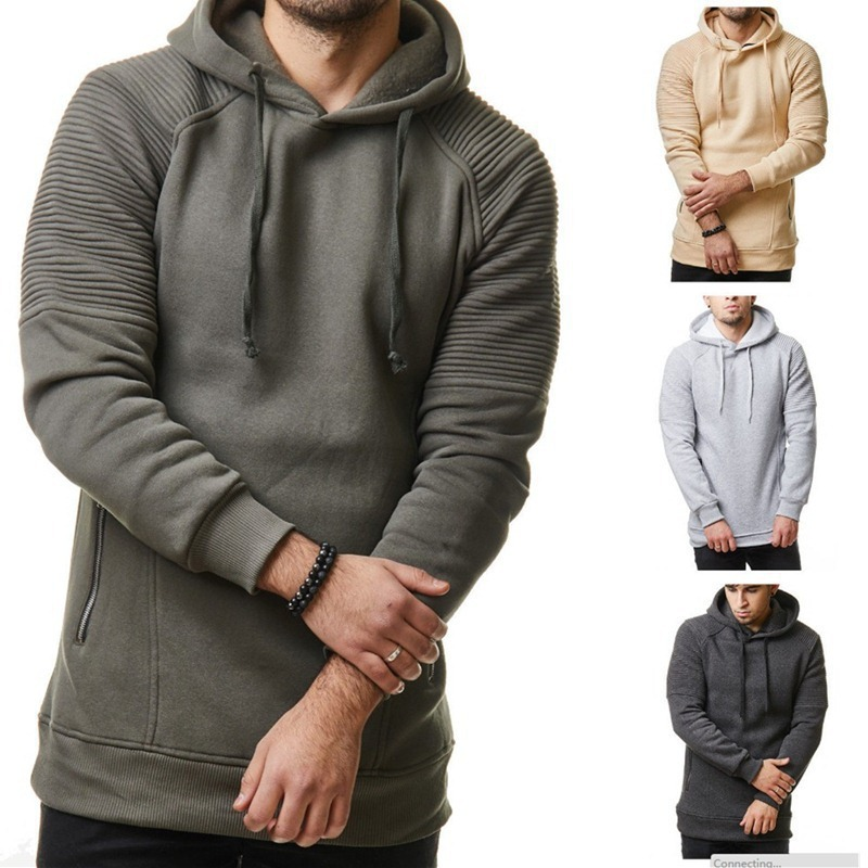 New men's casual Solid color hoodie striped pleated Long sleeve fashion hoodies