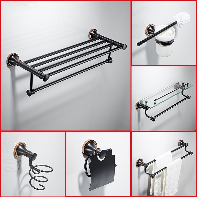 6-piece German-style Black Towel Holder,Brass,bathroom Hardware Pendant Set,Electroplate,Sanitary Ware Suite ,banyo aksesuarlari