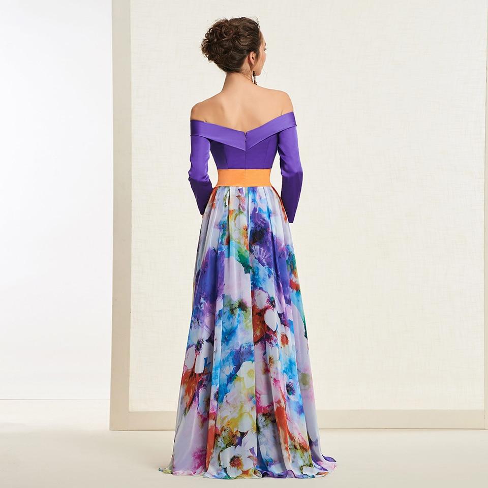 Dressv элегантное Индиго длинное платье для выпускного вечера с открытыми плечами простое ТРАПЕЦИЕВИДНОЕ ПЛАТЬЕ С принтом вечернее платье пл... - 3