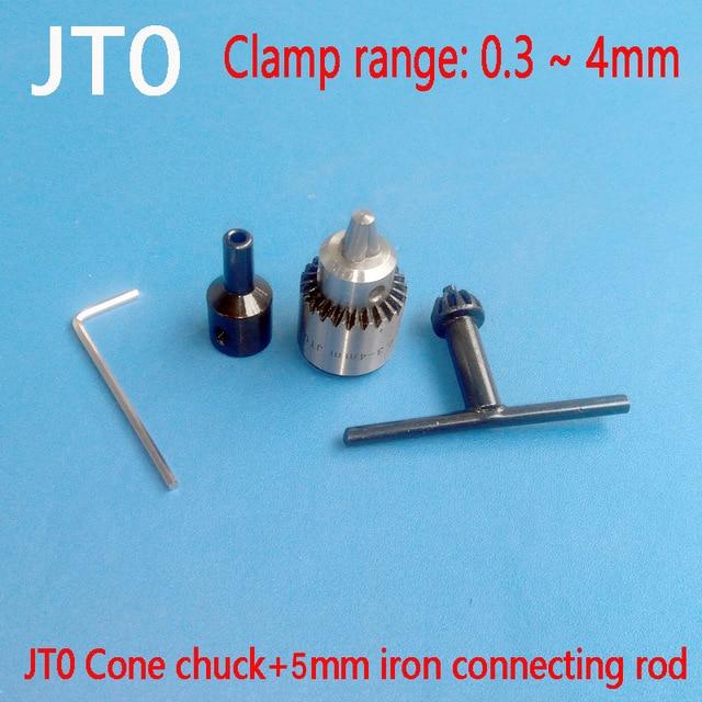 Micro Motor Drill Chucks Clamping 0.3-4mm Jt0 Taper Mounted Drill Chuck With Chuck Key 5mm Brass Mini Electric Motor Shaft