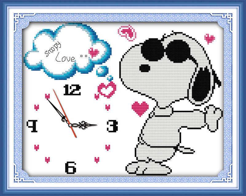 Cool dog love cross stitch kit 14ct 11ct count print canvas wall clock stitches embroidery DIY handmade needlework plus