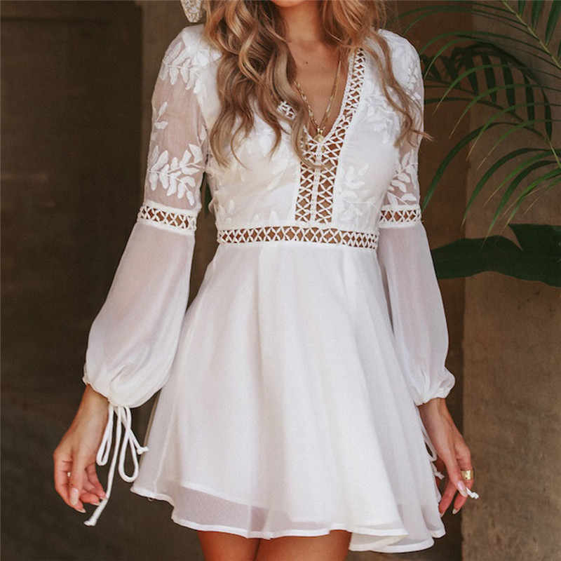 ee1ef1a4430c49 New Fashion Women Casual Sexy V-Neck Long Sleeve Lace Trim Short Mini Dress  white