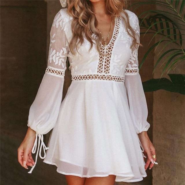 eff3989167 New Fashion Women Casual Sexy V-Neck Long Sleeve Lace Trim Short Mini Dress  white dress vestido