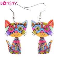 Bonsny gota gato acrílico pendientes grande largo colgante pendiente 2016 joyería de moda para mujer chica nuevo estilo lindo accesorios de animales