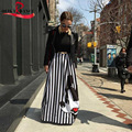 Fashion striped A-line summer women long skirt mouse casual pleated women mickey skirt long ladies stretch high waist skirt