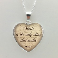 HT-0043 New Glass Cabochon Dome Jewelry Quote Necklaces Penadant Music Necklace Silver Heart Shaped Necklaces