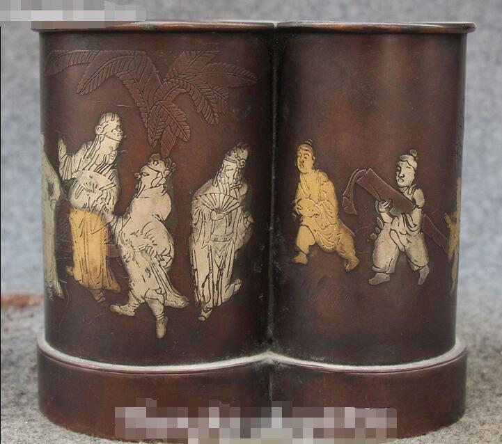 Chine Bronze Peinture Dynastie Palais Personnes Homme Stylo Container Titulaire Crayon Vase