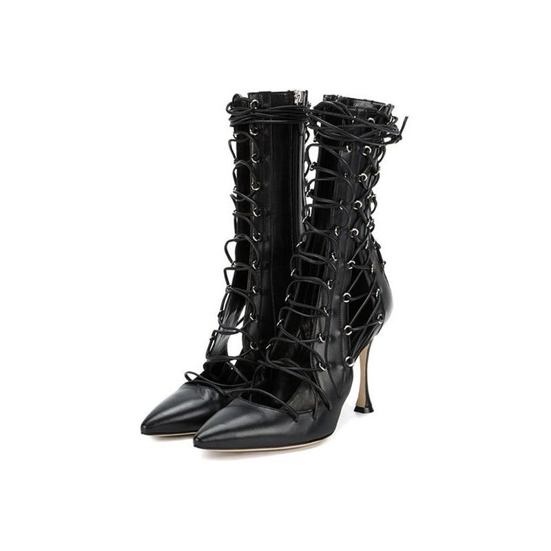 Abesire/хит продаж 2019, женские пикантные черные сандалии с вырезами и острым носком, женские ботильоны на тонком высоком каблуке со шнуровкой, обувь на молнии для девочек