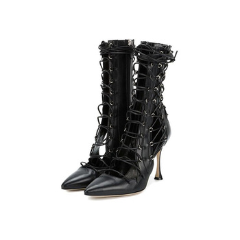 Abesire Hot 2019 Women Sexy Black Cut-outs Pointed Toe Sandals Boots Ladies Lace-up Thin High Heels Ankle Boots Girls Zip Shoes