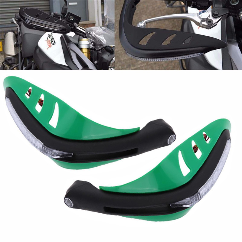 Green Motorcycle Handguards Hand Brush Guard With Led Turn Signal Indicator Light For Suzuki Kawasaki Yamaha Honda KTM