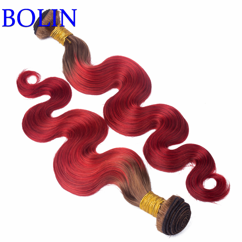 #4/red Human Hair Weaves Hair Weft 3 Bundles Hair Extensions Body Wave 100% Brazilian Human Hair Ombre Color Braiding for Women