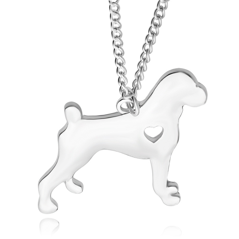 WLP 1pc Boxer Necklace Dog Pendant Pet Jewelry Silver Charm Personalized Pets Dog Animal boho Pendants Necklace Memorial Gift