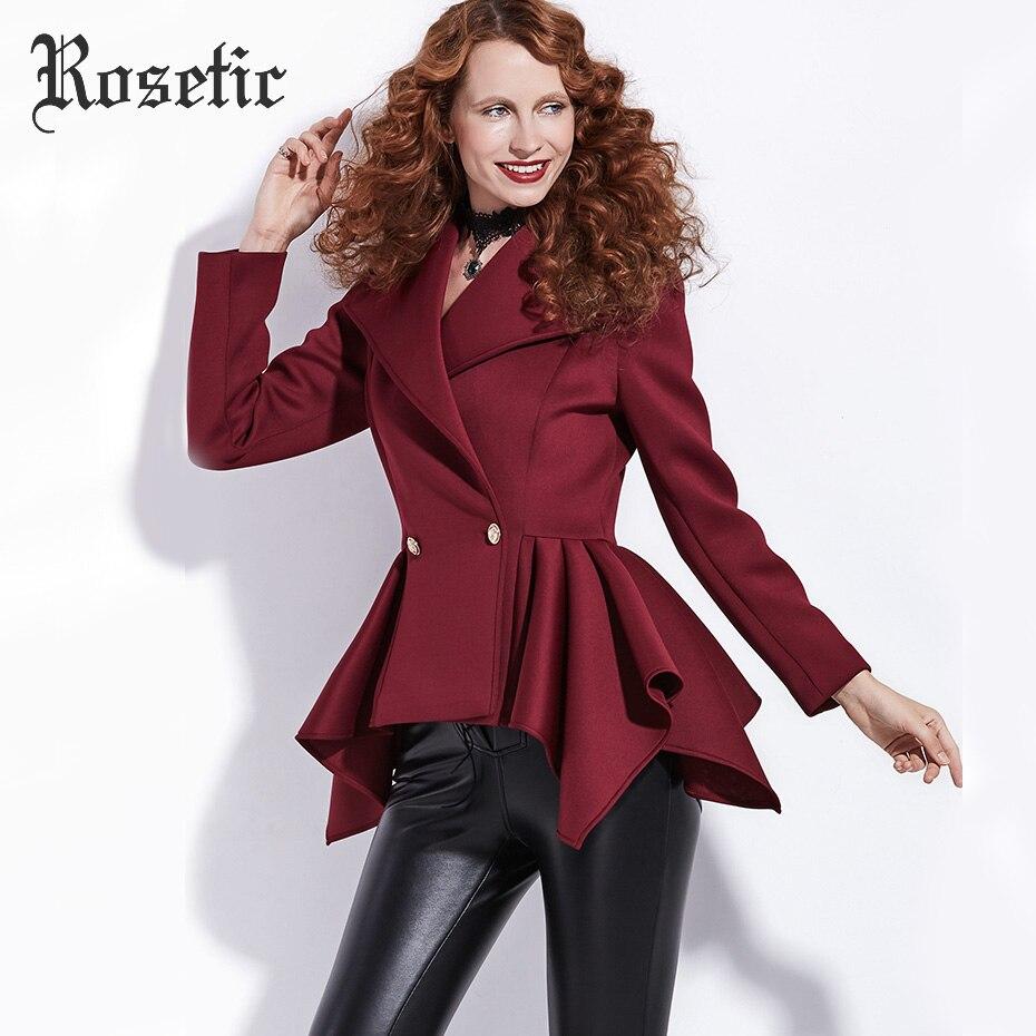 Rosetic Готический пальто Для женщин Осень Короткие Империя куртки модная верхняя одежда тонкий шик темно-красный опрятный офисная стильная Р...