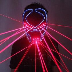Mode Rot Laser Maske Leuchtenden Licht Up Laserman Gesicht Maske Laser Zeigen Halloween Masken Für Laser Bühne Tänzerin Partei Liefert