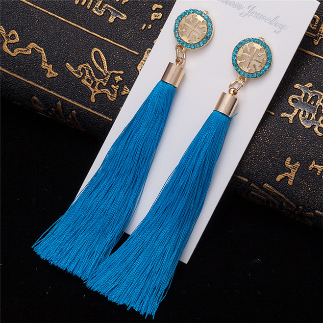 HTB1R mwVYrpK1RjSZTEq6AWAVXaE - HOCOLE Bohemian Crystal Tassel Earrings Black White Blue Red Pink Silk Fabric Long Drop Dangle Tassel Earrings For Women Jewelry