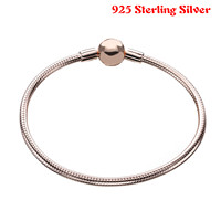 100 925 Sterling Silver Rose Gold Charm Chain Fit Original Pandora Bracelet Bangle For Women Authentic