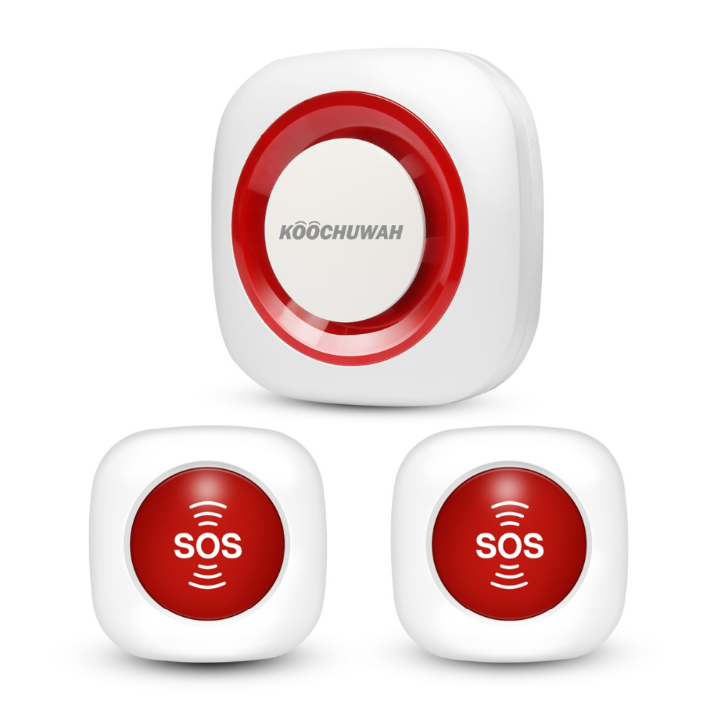 GSM Botão de Pânico KOOCHUWAH 2pcs Alarme SMS Sistema de Vigilância de Segurança Sem Fio Botão de Chamada de Emergência para Idosos 2G SIM cartão