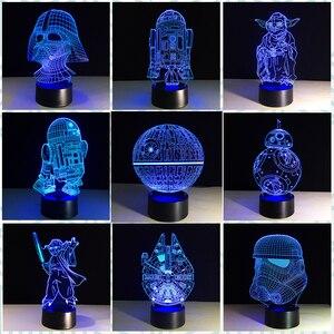 Chaohui новая 3D лампа Death Star War BB-8 R2D2 Мастер Йода Дарт Вейдер USB многоцветный светодиодный настольный ночник для спальни подарки для дома