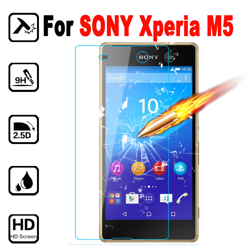 M5 Premium Tempered Glass Phone Protective Film For SONY Xperia M5 Dual E5633 E5643 E 5633 5643 Screen Protector with Clean Tool