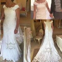 2019 Women Lace Wedding Dress Cap Sleeves Bride Gown for Girls Mermaid Trumpet Shape Fishtail Scoop Neck