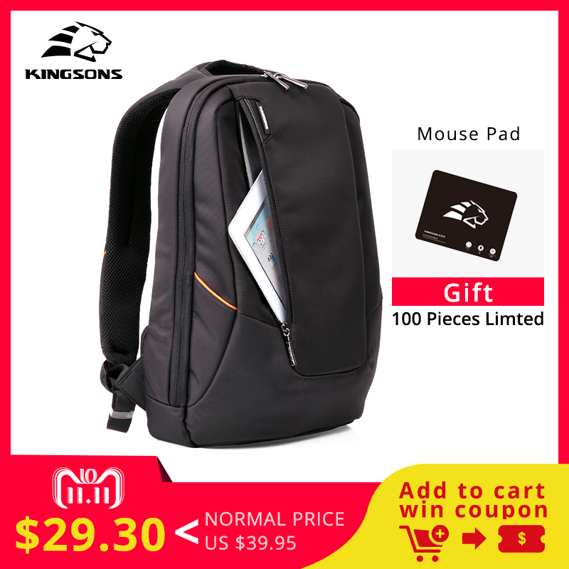 Kingsons Candy Black Laptop Backpack Man Daily Rucksack Travel Bag School Bags 14 inch Women Bagpack Mochila Feminina