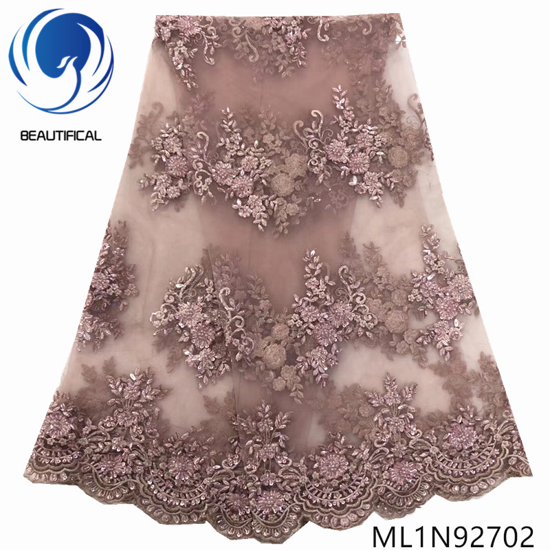 Beautifical nigerian lace fabrics Latest 5yards embroidery beaded net lace fabric with sequins tulle lace for