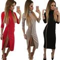 Зима Осень Женщины Платье Плюс Размер Длинным Рукавом Мода Черный Офисные Платья Молнии Платья Партии Alibaba Выразить Украина