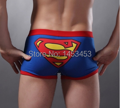 Underwear men Cute Superman Cartoon Mens Underwear Underpants Sexy Boxer Shorts Blue