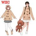 Anime Muco Doge Cosplay com Capuz Hoodies Com Orelhas Kawaii Japonês Chifre Fivela Casaco De Lã Estilo Preppy Harajuku Menina Traje WXC