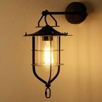 Loft lâmpada de parede com abajur vidro industrial iluminação parede para barra do hotel sala estar decoração casa interior|loft wall lamp|wall lamp|loft wall -