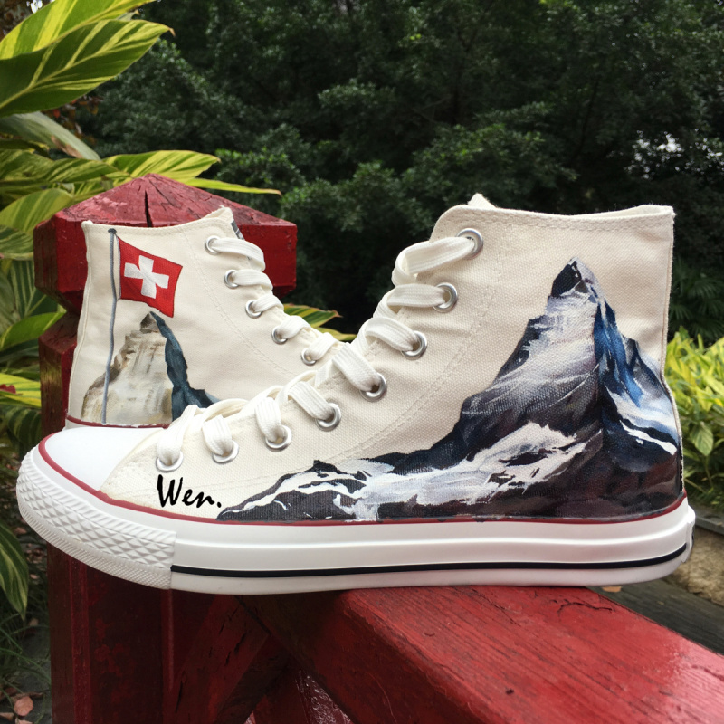 70076ca6bffb8b Wen Hand Painted Shoes White Design Custom Sneakers Switzerland Flag Alps  Edelweiss High Top Men Women s Canvas Sneakers