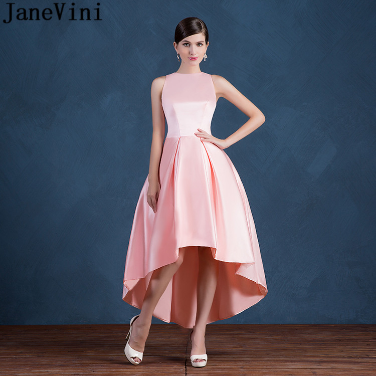 JaneVini High Low Pink Long Bridesmaid Dresses With Pockets 2018 Satin A Line Pleats Zipper Back Ankle Length Formal Prom Gowns