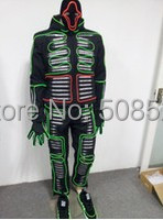 LED Stage Wear Christmas Dress LED Glowing Clothes with Horrible Mask LED Costume Clothes Party Dress EL Wire Size customized