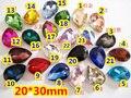 60 Unids 20*30mm Pera Gota Crystal Fancy Stone Pointback Glass Teardrop Gotita Frustrado Para La Fabricación de Joyas, Uso de prendas de vestir