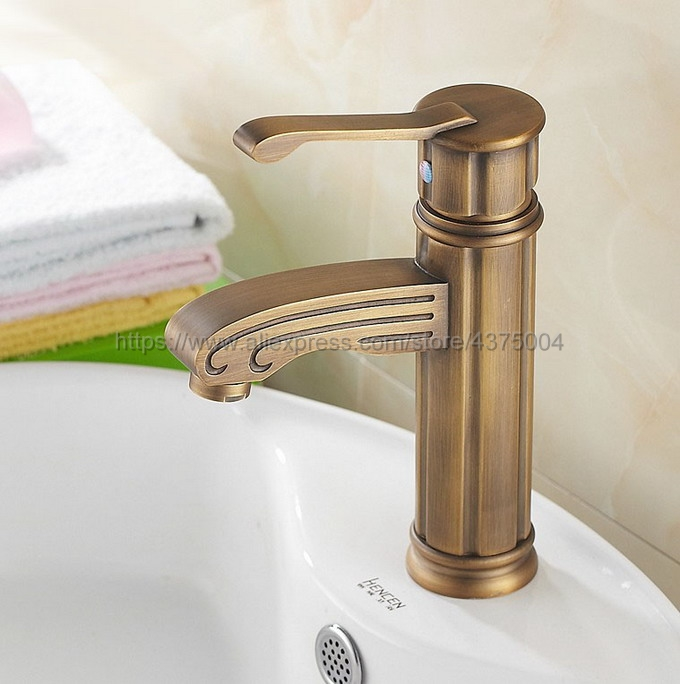 Deck Mounted Single Handle Hole Bathroom Sink Mixer Faucet Antique Brass Hot and Cold Water Mixer Tap Nan039 стоимость