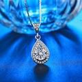 Joyería pendiente de la manera de las mujeres blanco 585 collar chapado en oro cz gota de agua accesorios de diamantes vestido de cuello decoración bijoux HN003