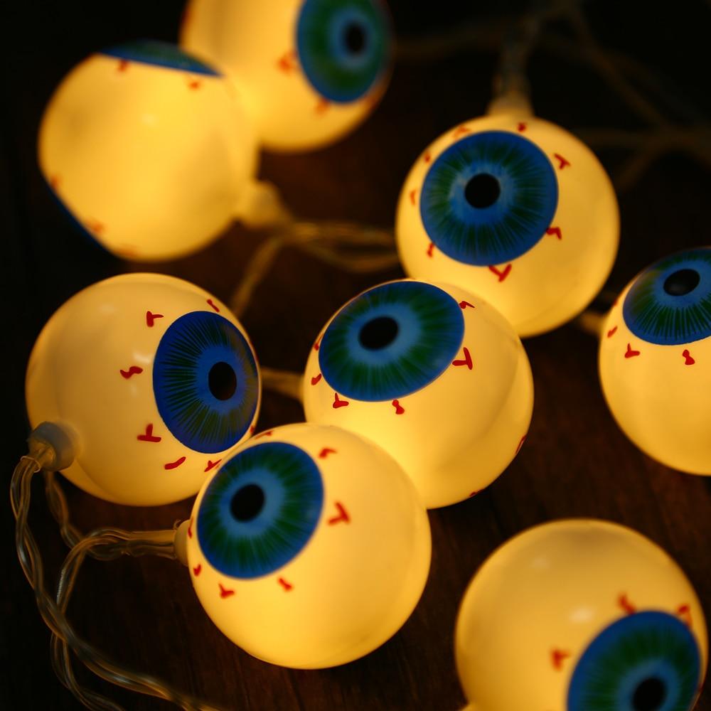 2M 20 LEDs Eyeball Lighting Strings Blood Eye AA Battery Powered String  Light Lamp For Halloween