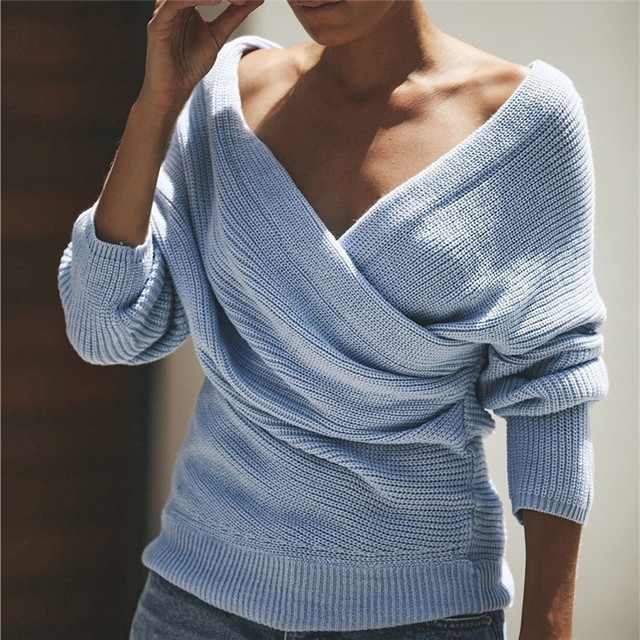 547c8052ff Autumn Winter Knitted Sweater Sexy V-Neck Cross Pullover Hollow Out Cashmere  Sweater Backless Jumper