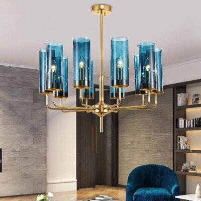 Modern Luxury Glass Chandelier Lighting 6-15 Heads Blue/Cognac Nordic Hang Lamp Living Dining Room Bedroom Indoor Light Fixture